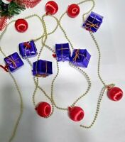 Vintage Christmas Ornament GARLAND Satin Ball Mini Red Balls PURPLE GIFTS