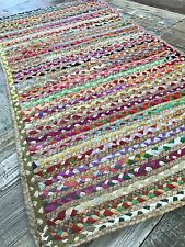 ❤️Braided Stripe Rug Natural Jute & Multi Colour Fabric Rag 60cm x 90cm Indian
