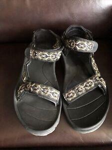 TEVA 6768 Cross Terra Sport Sandals Shoes Black Geometric Men's US 8 Eur 40.5