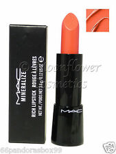 MAC Mineralize Rich Lipstick ♡ STYLE APPROVED ♡ Coral Orange Shimmer New & Boxed