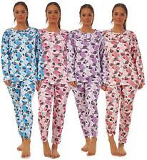 Ladies Fleece Pyjama Set Crew Neck Long Sleeve Buttons Thermal Lounge Wear M-3XL