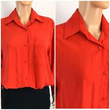Vintage Classic Lilli Ann Collections Red Silk Blouse Button Front Collared L