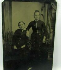 Tintype Photograph Mother and Daughter Wearing Victorian Button Dresses Photo