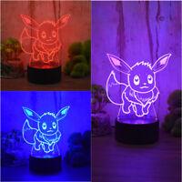 3D Eevee Pokemon LED Night Light Manual Switch Home Lighting Decor 3 Color Lamp