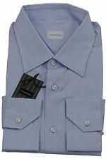Ermenegildo Zegna Azul Claro Self-Stripe Camisa Hecho en Italia Talla 45/17.75