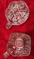 2 Vintage American Brilliant Cut Crystal Glass Saw Tooth Rim Candy Dish Bowl 5in