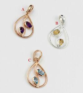 925 Sterling Silver Blue Topaz Citrine Gemstone Rose Gold Plated Gift Pendant