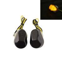 2pcs Mini Motorcycle Smoked Blinker LED Turn Signal Amber Indicators Lights New