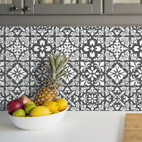 Dark Grey Spanish Renaissance Tiles Wall Stickers Decor - 15 x 15 cm @ 24 pcs