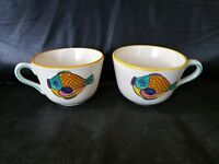 "RARE   Vintage METLOX POTTERY "" PESCADO FISH CAFE AU LAIT COFFEE CUPS  SAUCERS"