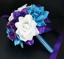 "7.5"" Bouquet - Turquoise, Purple, White Artificial Flowers Toss Bouquet"