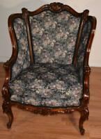 1880s Antique French Louis XV Walnut Berger wingback living room chair