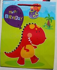 Happy Birthday dinosaur large gift bag with tag & handles, gift, present, new