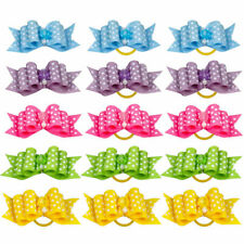 50PCS Dot Rhinestone Pet Hair Bows W/Rubber Bands Dog Cat Grooming Accessories
