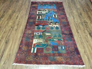 "3' 2"" X 6"" Hand Made Afghan Balouch Tribal Wool War Rug Tank Helicopter Tree Wow"