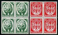 GERMANY DEUTSCHES REICH SCOTT#444/45  BLOCKS  2 STAMPS NH & 2 HINGED  MINT SHOWN