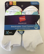 Hanes Women's Premium Cool Comfort® No Show Socks 6-Pack Size 8-12 White X-Temp