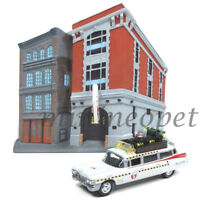 JOHNNY LIGHTNING JLSP031 GHOSTBUSTERS ECTO-1 1959 CADILLAC 1/64 with FIRE HOUSE