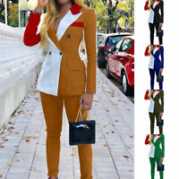 2Pcs Set Women Patchwork Long Sleeve Top And Long Pant Elegant OL Blazer Suits