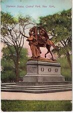 Antique 1912 Sherman Statue Central Park New York Postcard Used with Stamp