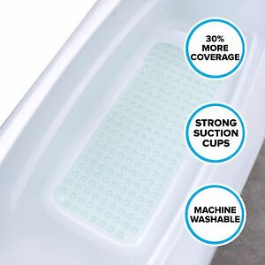 Extra Long Bath Mat: Light Green Non-Slip Bath Safety Mat with Suction Cups