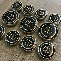 J699 Lot 11 15/20mm Gold Enamel Black Metal Blazer Suit Set Button Bespoke