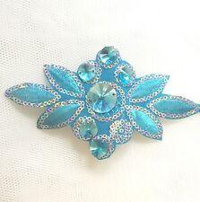 Single 13cm Aqua  Embroidered Motif  Silver Sequins Blue Crystals Dance Costume
