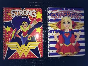DC Superhero Girls Lot Of 2 Spiral Notebooks. Supergirl And Wonderwoman