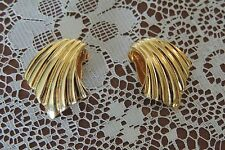 Estate Vintage Les Bernard Gold Clip On Earrings