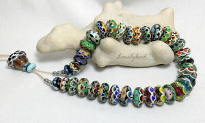 LONELYBEAD - Chet handmade 38 lampwork art glass bead SRA - Oriental Charm - set