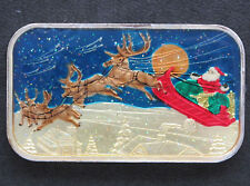 2001 Reindeer over the Roof Tops Enameled Silver Bar ST-253VEN SilverTowne P1146