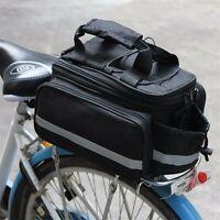 Bicycle Bike Rear Rack Bag Removable Carry Carrier Saddle Bag Pannier +Raincover