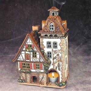 Ceramic House Tealight Candle Holder Incense Burner Decoration Handmade Gift New