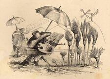 vintage poster 1844 /'A Different World/' by J.J Grandville Creature Bubbles