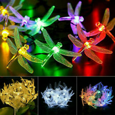 LED Solar String Lights Dragonfly Outdoor Garden Party Fairy Lamps Waterproof