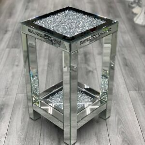 Mirrored End Table Sparkly Silver Crushed Diamond Crush Crystal Star Shine✨💎