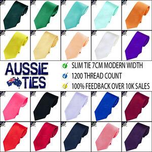 MENS 7CM SLIM TIE - MODERN WIDTH 7cm - slim line necktie 35 choices HIGH QUALITY