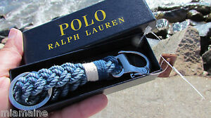 NEW POLO Ralph Lauren snap shackle braided key chain fob gift box ring indigo