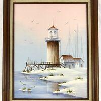 "Lighthouse Coastal Oil Canvas Painting Signed MARGARET TAYLOR Original Art 17"""