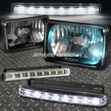 4x6 H4656 DIAMOND CUT SQUARE BLACK CRYSTAL HEADLIGHT+HALOGEN BULB+LED FOG LIGHT