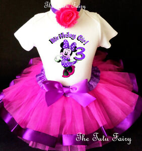 Minnie Mouse Purple Pink Purple Girl 3rd Birthday Tutu Outfit Set Shirt Party