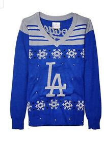 Los Angeles Dodgers Women's Light-Up Christmas Sweater XL