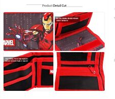 Marvel Iron Man Red Tri-fold Velcro Wallet Light Weight with Multiple Pocket