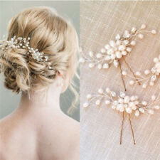 Vintage Women Bride Hair Clip Rhinestone Faux Pearls Flower Grain Hairpin LD