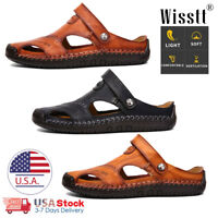 Size 5-14 Mens Brown Leather Safety Closed Toe Outdoors Sandals Casual Shoes USA