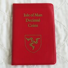 ISLE OF MAN 1977 6 COIN DECIMAL MINT SET WITH VIKING LONGBOAT 50p - red wallet