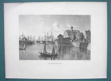 GERMANY Port of Hamburg Merchant Sailships - 1887 Steel Engraving by Cpt. Batty