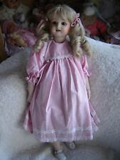 "Lilian Middleton Porcelain Repro doll in beautiful clothing. Approx 21"" tall"