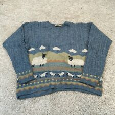 VINTAGE Blarney Womens Cable-Knit Jumper Medium Blue Wool European Sweater