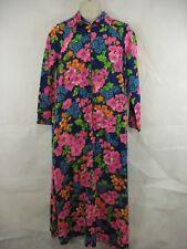 Loll Ease Neon Floral Long Sleeve Maxi Dress Half Zip Vtg 60s Womens